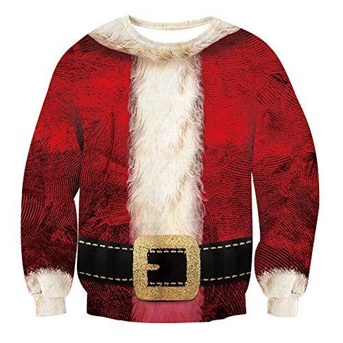 RAISEVERN Unisex Ugly Christmas Santa Claus Costume Design Novelty Casual Long Sleeve Pullover Sweatshirt -