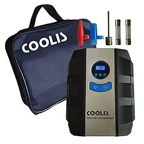 COOLIS 12V Portable Digital Tire Inflator Air Compressor with Carry Case,150Psi With Auto Shut Off At Desired Pressure,With Spare Parts For Bike / Balls / Air - Tek Floor Mat