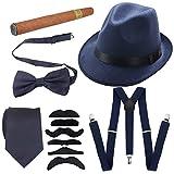 1920s Mens Accessories Hard Felt Wide Brim Panama Hat, Y-Back Elastic Suspenders & Pre Tied Bow Tie, Gangster Tie,Toy Cigar & Fake Mustache (OneSize, Blue)