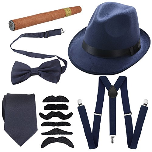 1920s Mens Accessories Hard Felt Panama Hat, Y-Back Suspenders & Pre Tied Bow Tie, Tie,Toy Cigar & Fake Mustache (OneSize, Navy Blue)]()