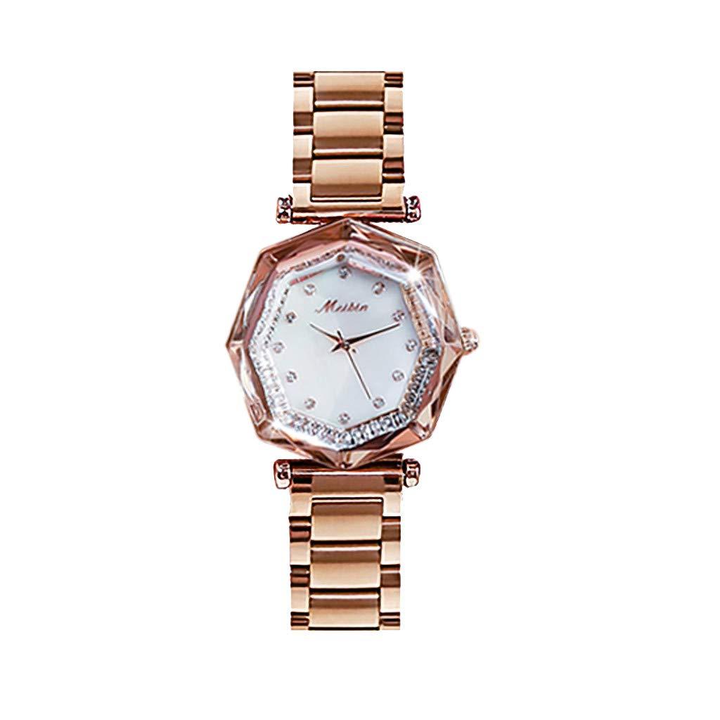 AmazingDays Women Girls Stainless Steel Quartz Watch Round Analog Geometric Polygon Dial Lady Steel Watch by AmazingDays