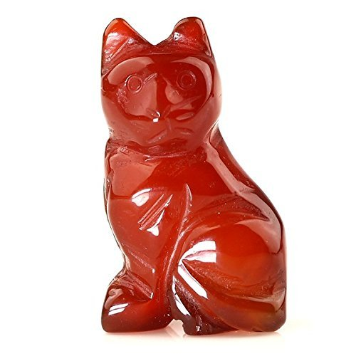Red Carving Hand Agate (40mm Hand Carved Gemstone Cat Figurine Statue Stone Carving 1.6