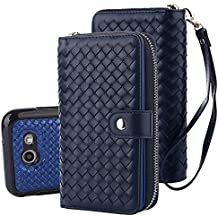 TabPow Galaxy J7 V Case, Galaxy J7 Prime Case, Galaxy J7 Perx Case, Weave Zipper Cash Slot, Card Slots, Button, Leather Wallet Case Cover With Detachable Case For Galaxy J7 V (2017) - Weave Blue