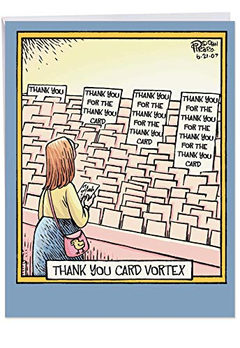 nch Notecard w/Envelope - 'Thank You Card Vortex' - Funny Cartoon Comic Strip, Shopping for Stationery Jumbo Size Cards and Blanks for Personalized Thanks Message J4680 ()