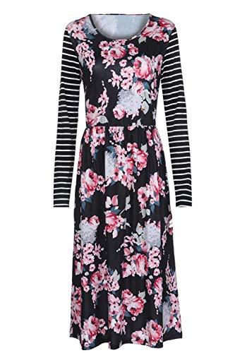 Longues Manches Femmes Aranmei Ligne A Noir Stripe Print Floral Robe xBEwOO