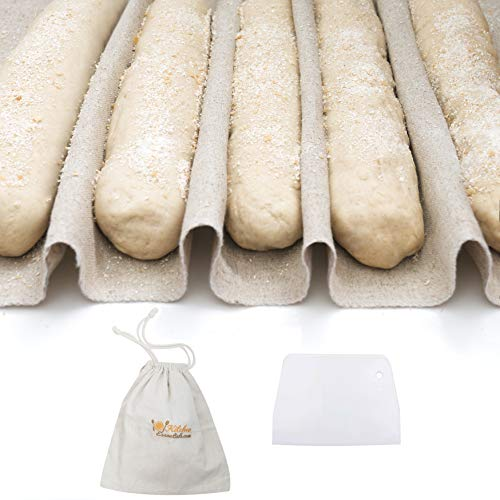 "3-In-1 Set of Large Bakers Couche (35""x26"") + Dough Scraper + Linen Storage Bag - Professional Baguette Couche Baking Proofing Cloth - Rolling Dough Proofer Made of 100% Flax Linen Bread Cloche"