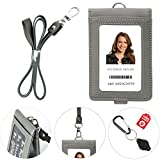 PU Leather Lanyard with Detachable Bifold Wallet with 2 ID Badge Holder Windows & 3 Card Pockets. Carabiner Keychain Flashlight with Key Ring. 17.5'' PU Leather Neck Strap. Gray Color.