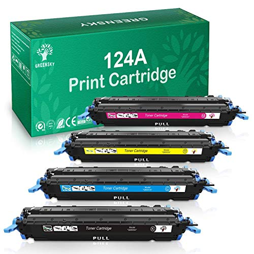 GREENSKY Compatible Toner Cartridge Replacement for HP 124A Q6000A Q6001A Q6002A Q6003A Color Laserjet 1600 2600n 2605dn 2605dtn 1015 1017 MFP (Black, Cyan, Yellow, Magenta, 4-Pack)