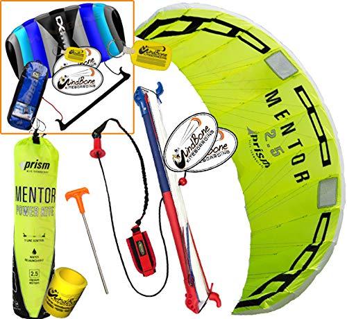 Prism Mentor 2.5 Water Relaunch Kitesurfing Trainer Kite Bundle : (5 Items) Includes 2ND Control Bar Kite : CX 1.5M Foil Control Bar Kite + WindBone Kiteboarding Lifestyle Decals +Key Chain +Koozy -