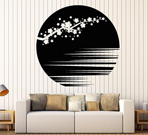 Vinyl Wall Decal Sunset Beautiful Sakura Flower Branch Asian Style Stickers Large Decor (1142ig) Burgundy