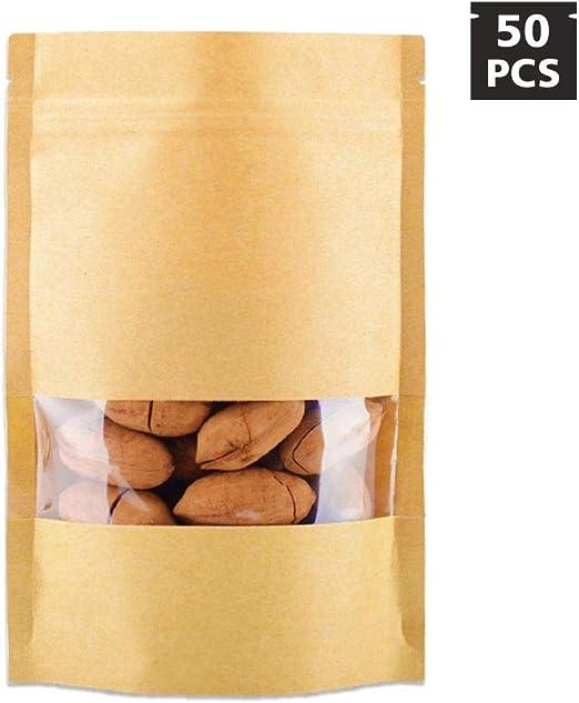 Amazon.com: 50 PCS Stand Up Kraft Paper Bag, Reusable Zip ...