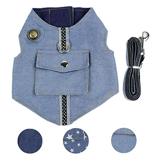XAMAWA Pet Clothes Dog Jeans Jacket Vest Harness with Leash Ring for Outdoor Walking-Light Blue