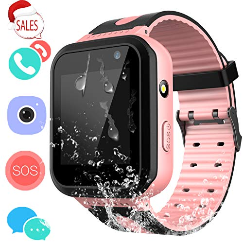 (Kids Waterproof Smartwatch with GPS Tracker - Boys & Girls IP67 Waterproof Smart Watch Phone with Camera Games Sports Watches Back to School Supplies Grade Student Gifts (02 S7 Pink))