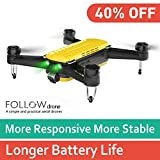 Geniusidea FOLLOW UAV - RTF RC 2.4/5.8GHz Quadcopter Drone with 5G Wi-Fi APPControl, Face/Gesture Recognition. Portable FPV 6 Axis Gyro Hovering HelicopterDrone with SONY 4KHD Camera, Bonus Batteries