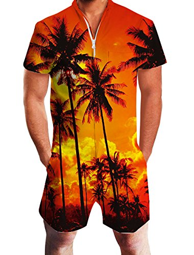 Leapparel Mens Coconut Tree Graphic Rompers Funny 3D Cartoon Jumpsuits 90s Personalized Clothes Overalls Shorts Cool Pants M