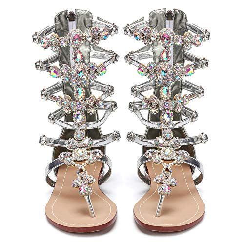 AZMODO 2017 Crystal Roman Sandals Silver Color Plus Size Available G90 (US 12.5 / EU 45 / UK 10.5 / CN 47)