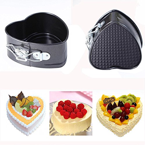 Fenleo Mini Cake Pan, 4 Inches Nonstick Springform Pan Leakproof Mini Cake Pan Heart Shape Cheesecake Pan Baking Tools with Removable Smooth Bottom and Quick-Release Latch - Heart Springform Pan