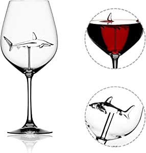 EastDeals Italian Red Wine Glasses - Shark Goblet Glasses with Shark Inside for Adults,Creative Goblet Glass,Lead-Free Crystal Clear Glass,High-end Flutes Glass Perfect for Homes/Bars/Party (1 Pack)