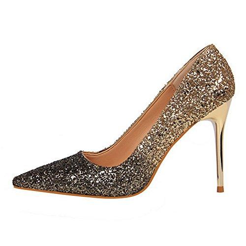 Allhqfashion Mujeres Pu Pull-on Cerrado-toe Tacones Altos Color Surtido Bombas-zapatos De Oro