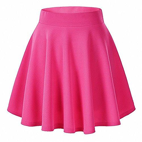 Afibi Casual Mini Stretch Waist Flared Plain Pleated Skater Skirt (Large, Coral)