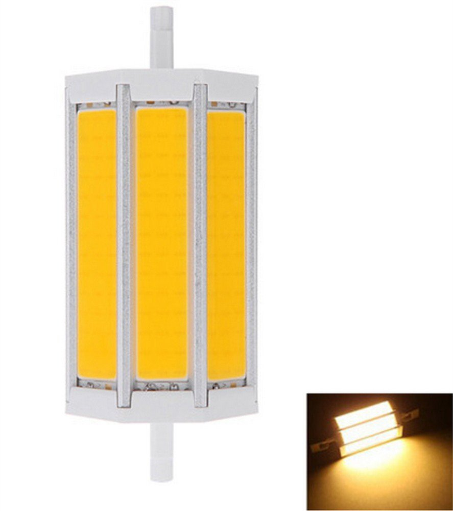 JKLcom R7S COB LED Bulbs R7S 118mm 15W Not Dimmable 1500lm COB Light Floodlight Halogen Replacement (Warm White)
