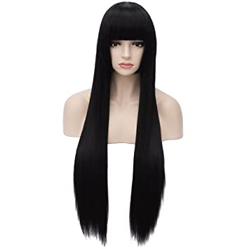 Amazon.com   Aosler Black Long Straight Wig 8173a578a