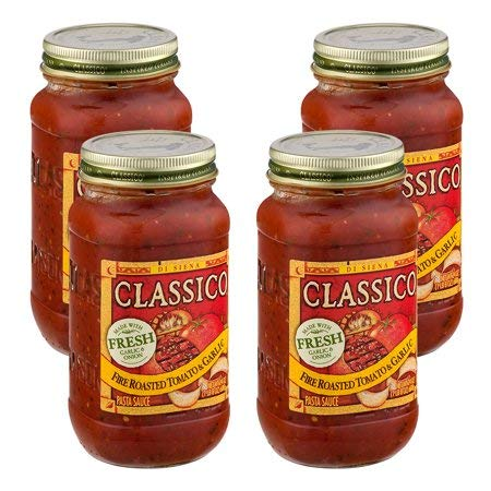 Pasta Sauce Fire Roasted Tomato & Garlic, 24 oz (4 Packs) by Classico