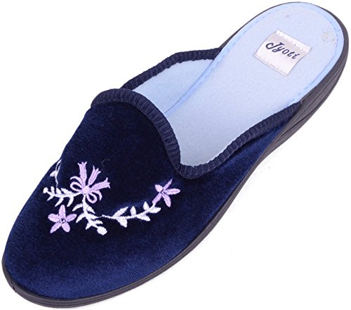 Ladies / Womens Velour Style Slippers / Mules / Shoes with Flower Design