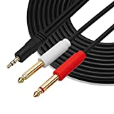 Gold Plated 3.5 mm TRS to Dual 1/4 inch TS Premium Stereo Breakout Cable for Connecting iPhones, iPods, iPads, Mac, Laptop, or Audio Device to Pro Audio Gear (25ft/7.5M)