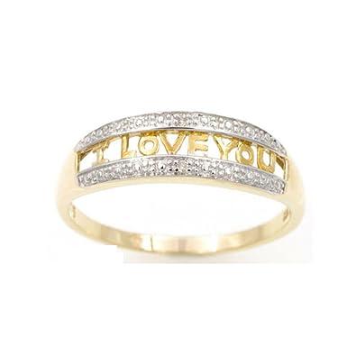 MOJ 9ct Handcrafted Real Gold Genuine White Diamond Wedding Band Engagement Ring Love Promise Ring Gift Set for Her Women Full Size fyS7ek37