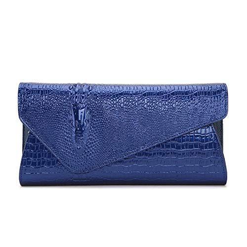 Única Bolso Suave Talla Otoño Cocodrilo Azul Tamaño Embrague Black Hombro color De grow Sky invierno Femenino qfEg6f