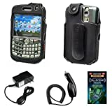 Cell Phone Accessories Bundle for RIM Blackberry Curve 8330, 8310, 8300, 8320 (Includes; Executive Sporty Case with Belt Clip, Rapid Car Charger, Home Wall Charger, Generation X Antenna Booster)