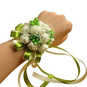 Creaon Women Bride Bridesmaid Wrist Flower Artificial Floral Hand Flower Wedding Wrist Flower Wrist Corsage Exquisite Wedding Ribbon Flower Artificial Rose Flowers for Wedding Decoration 75