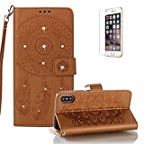 Funyye Shiny Sparkle Case for iPhone X/iPhone XS 5.8 inch[with Free Screen Protector],Stylish [3D Shine Diamond Wind Chime] Magnetic Closure Wallet Case with Credit Card Holder Ultra Thin Soft Silicone PU Leather Stand Function Smart Flip Case for iPhone X/iPhone XS 5.8 inch,Brown