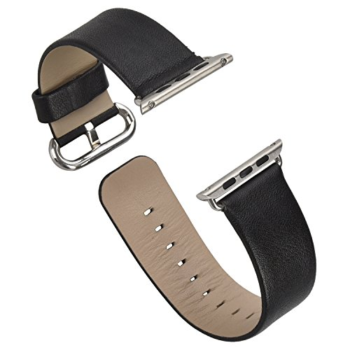 eLander Top-grain Leather Band Strap with Stainless Metal Clasp for Apple Watch All Models 38mm (Leather - Black)
