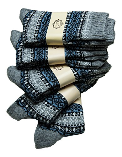 LuluVin Women's Vintage Style Casual Knit Crew Socks - 5 Pairs (5 Grey)