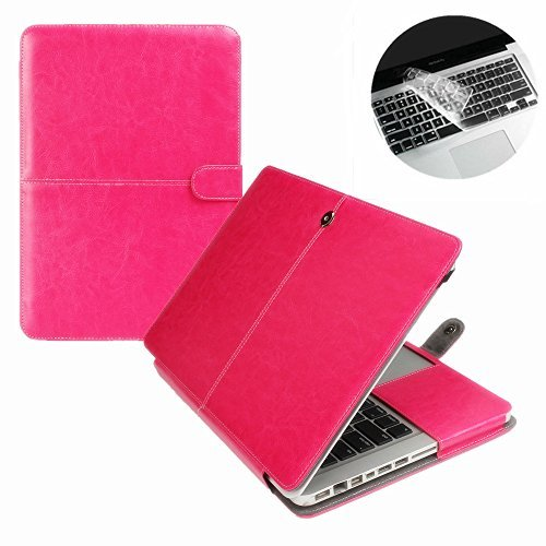 Se7enline Macbook Pro 13 in Case PU Leather Book Case for MacBook Pro 13 inch A1278 with CD-Rom 2010-2012 released Sleeve Carrying Cover Folio Case with Transparent Keyboard Cover, Hot Pink