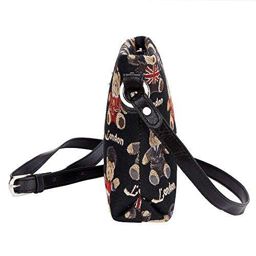 Borsetta donna Signare alla moda in tessuto stile arazzo a spalla borsa messenger a tracolla floreale Orsacchiotto di Londra