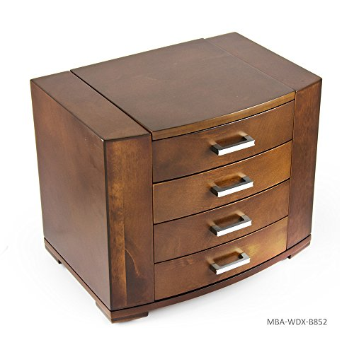 Stunning 18 Note Grand Modern Natural Wood Tone Musical Jewelry Box with Silver Hardware - In the Good Old Summertime by MusicBoxAttic