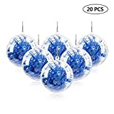 Mbuynow 20 Pack 50mm Clear Ornaments Balls, DIY Plastic Fillable Christmas Decorations Tree Balls Baubles Craft Transparent Ball Gifts for Wedding Party Decor
