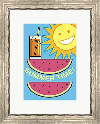 SummerFlag Watermelon Summer 2 by Jerry Gonzalez Framed Art Print Wall Picture, Silver Scoop Frame, 18 x 22 inches ()
