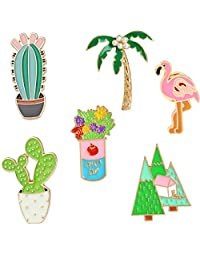 Enamel Lapel Pin Set - 6pcs Cartoon Brooch Pin Badges for Clothes Bags Backpacks - Rainbow Cactus Succulent Leaves Pineapple …