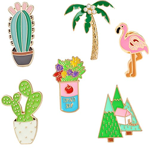 GuassLee Cute Enamel Lapel Pin Cactus Set - 6pcs Cartoon Brooch Pin Badges for Clothes Bags Backpacks - Cactus Flamingos Coconut Tree Flowers ()