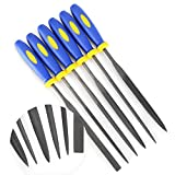 Needle File Set (HIGHEST QUALITY 6 PIECE SET) Hardened Alloy Strength Steel - Mini Needle File Set Includes Flat, Flat Warding, Square, Triangular, Round, and Half-Round File