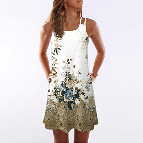 Todaies Women Summer Floral Print Dress, Vintage Sleeveless 3D Bohe Tank Short Mini Dress (2XL, White 1) by Todaies (Image #2)