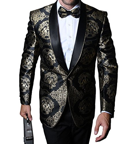 Statement SJ103 Mens Polished Black Gold Tux Blazer Jacket + Bow Tie (52L Jacket) -