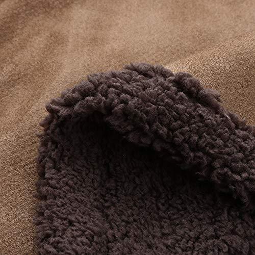 Sheepskin Winter Wool Lamb Faux Lined Lckygirls Men's Warm Coat Jacket Brun Mountain Jackets 5qwRERxf