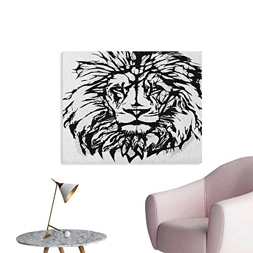 Anzhutwelve Lion Mural Decoration Sketch Art of African Safari Animal King of The Jungle Savannah Wildlife Cool Poster Black White Pale Grey W32 xL24