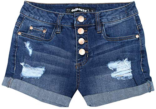 - dollhouse Women\'s High Waisted Denim Shorts with Exposed Buttons, Medium, Size 5'