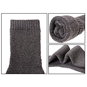 ProEtrade Men Wool Thick Winter Socks – 5 Pairs Warm Crew Socks Assorted Colors (Solid Color)